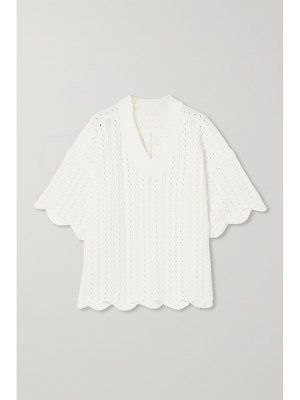 See By Chloe scalloped crochet-knit cotton top