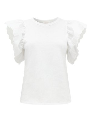 See By Chloe scalloped-sleeve cotton-jersey t-shirt