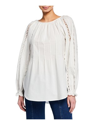 See By Chloe Scoop-Neck Embroidered Long-Sleeve Top