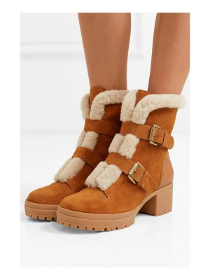 See By Chloe shearling-trimmed suede and leather ankle boots