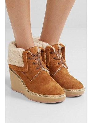See By Chloe shearling-trimmed suede wedge ankle boots