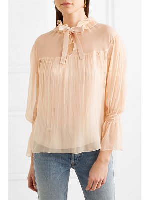 See By Chloe shirred plissé silk-georgette blouse