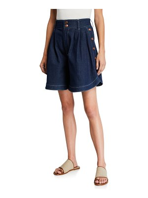 See By Chloe Signature High-Waist Denim Shorts w/ Buttons