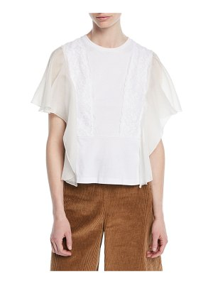 See By Chloe Sleeveless Lace Ruffle Top