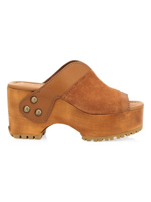 See By Chloe suede & leather platform clogs