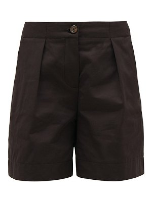See By Chloe tailored pleat-front cotton-blend shorts