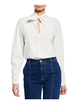 See By Chloe Tie-Neck Long-Sleeve Blouse