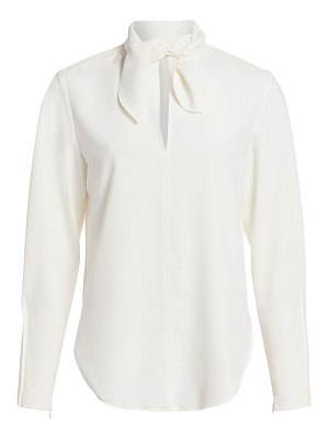 See By Chloe tieneck long-sleeve crepe blouse