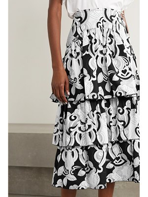 See By Chloe tiered printed cotton-poplin midi skirt