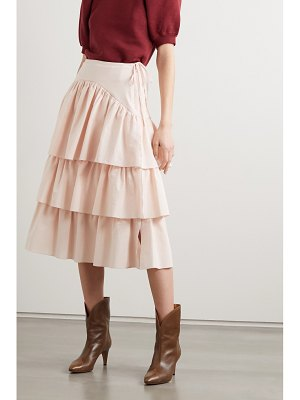 See By Chloe tiered striped cotton-poplin midi skirt