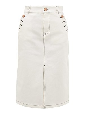 See By Chloe topstitched stretch-denim skirt