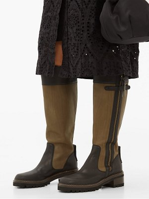 See By Chloe two tone knee high leather boots