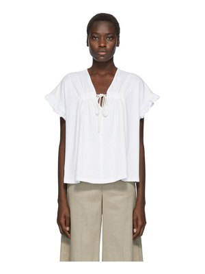 See By Chloe white cotton flowy blouse