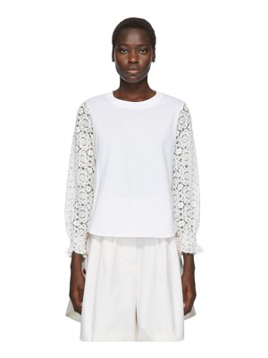 See By Chloe white lace sleeve t-shirt