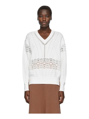See By Chloe white lace v-neck sweater