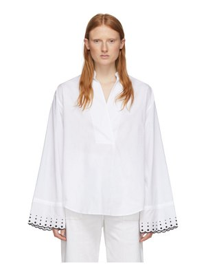 See By Chloe white poplin embroidered shirt