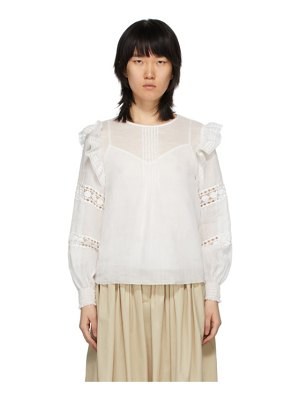 See By Chloe white sheer embroidery blouse