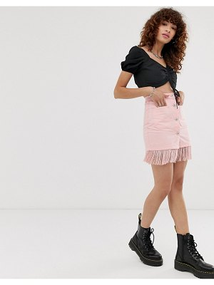 See You Never fringed mini skirt-pink