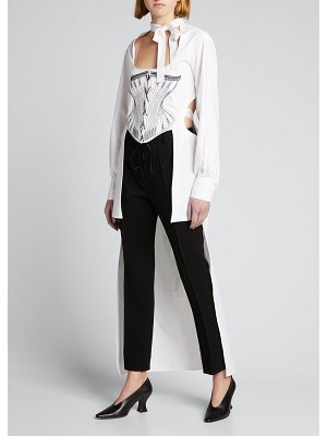SEEN Neck-Tie Corset Embroidered High-Low Shirt