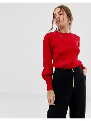 Selected femme balloon sleeve knitted sweater-red