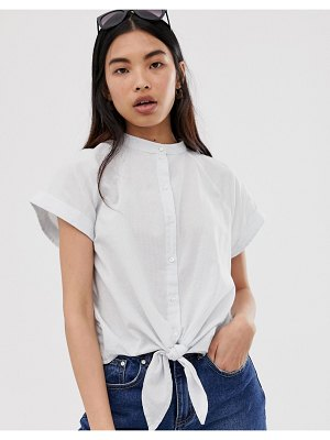 Selected femme boxy chambray tie front shirt
