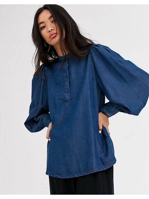 Selected femme denim blouse with balloon sleeve-blue