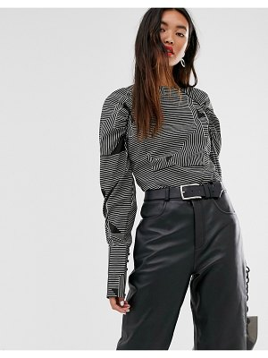 Selected femme geo stripe top with exaggerated sleeve-multi