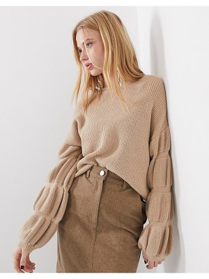 Selected femme knitted sweater with sleeve detail in camel-brown