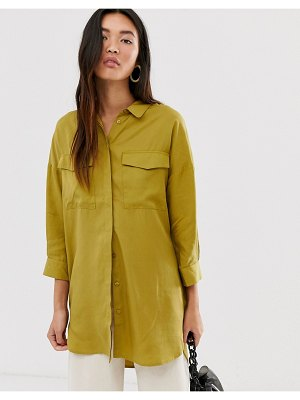 Selected femme oversized woven shirt with pocket detail-multi