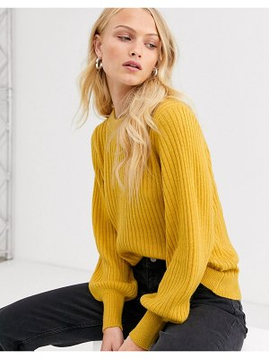 Selected femme ribbed sweater with balloon sleeve-green