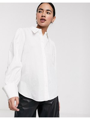 Selected femme shirt with wide cuff in white