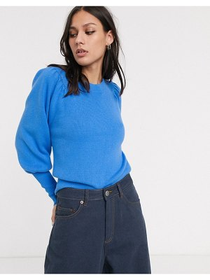 Selected femme sweater with volume sleeve in blue