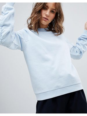 Selected femme ruched sleeve sweater sweater-blue