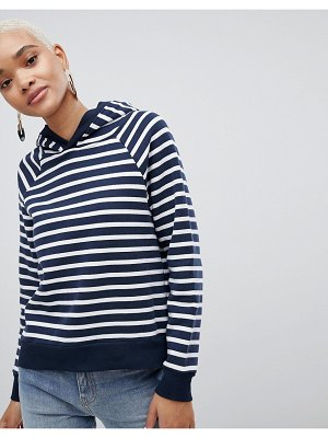 Selected femme striped over head hoodie-navy