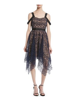 self-portrait Asymmetric Floral Lace Midi Cocktail Dress