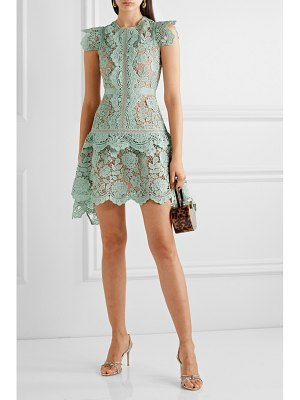 self-portrait asymmetric grosgrain-trimmed corded lace mini dress