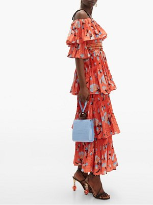 self-portrait botanical print tiered midi dress