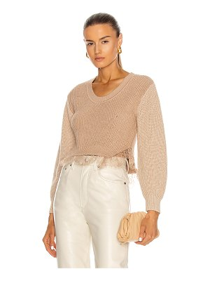 self-portrait contrast lace trimmed sweater