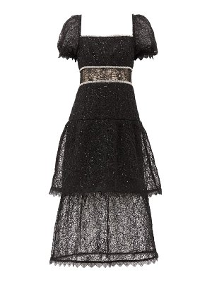 self-portrait crystal and sequin-embellished layered lace dress