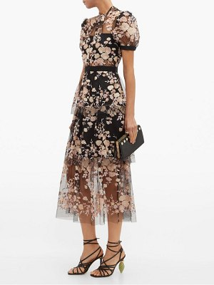 self-portrait floral sequin embellished tulle midi dress