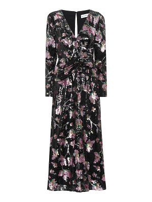 self-portrait floral sequined midi dress