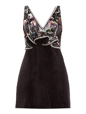 self-portrait floral sequinned velvet mini dress