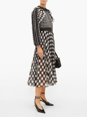 self-portrait gingham print lace trimmed pleated chiffon dress