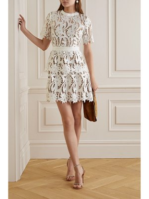self-portrait grosgrain-trimmed guipure lace mini dress
