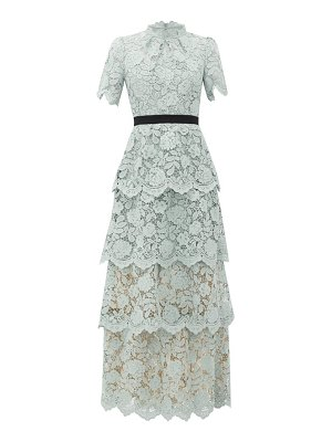 self-portrait guipure-lace tiered maxi dress