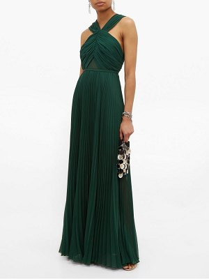 self-portrait halterneck pleated chiffon maxi dress