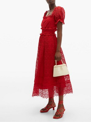 self-portrait hibiscus flower guipure lace midi dress