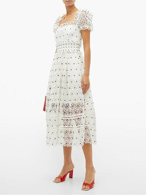 self-portrait hibiscus guipure lace midi dress