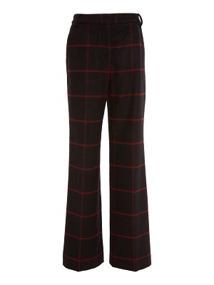 self-portrait high-rise check trousers