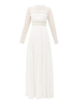 self-portrait lace-panelled pleated-crepe maxi dress